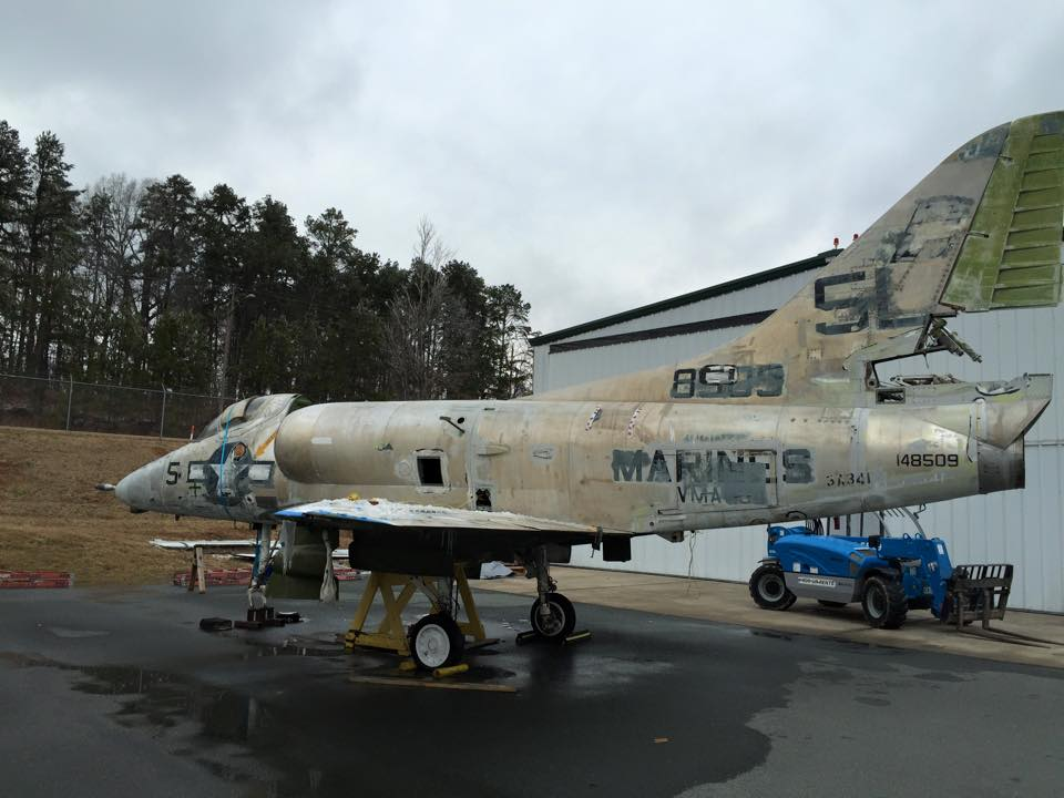 Douglas A-4 Skyhawk has recently undergone reassembly at Warriors & Warbirds' facility in Monroe, NC. They will steadily return her to pristine, albeit static display condition. (photo via W&W)