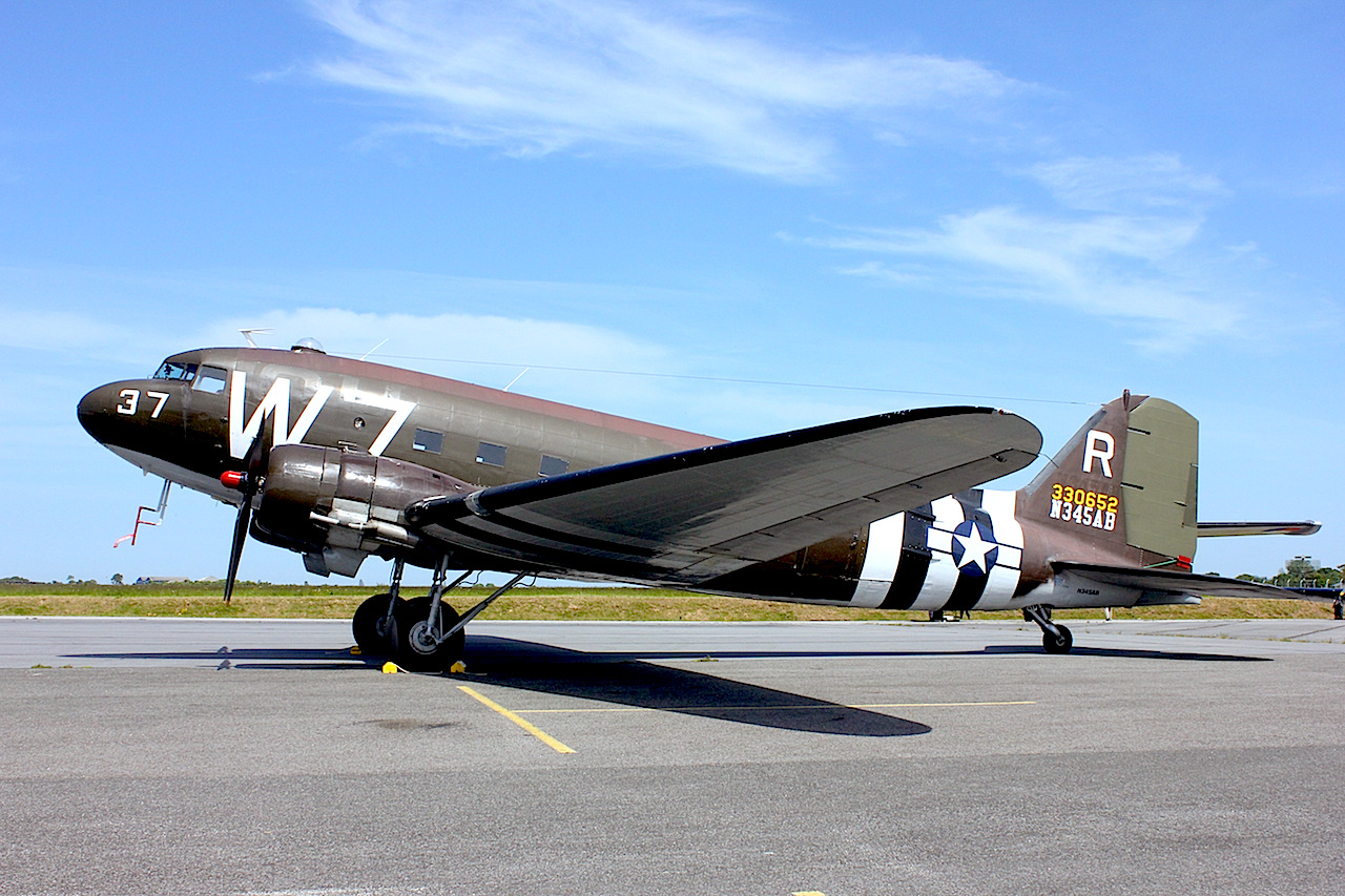 "The 1941 Historical Aircraft Group of the National Warplane Museum, ""Whiskey Seven"" N345AB/330652 from Geneseo, upper New York State, USA arrived at Prestwick, UK on ay 20th via Goose, Narsarsuaq, Reykyavik. It was delivered in September 1943 and based with the 12th Air Force in Algiers, North Africa. It was civilianised in 1945 as NC65135 at Grand Prairie in Texas and in the 1960s flew with Eastern Provincial Airways in Canada as CF-RTB. It came to Geneseo in April 2005 from the Dakota Aviation Museum in New Hampshire. ( Photo by Geoff Jones)"