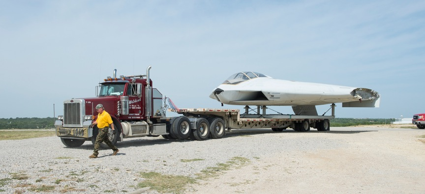 The A-12 Avenger II on the big rig during its ride from its former home at the old General Dynamics plant at the former Carswell Air Force Base, now known as Joint Reserve Base Fort Worth. (Photo via FWAM)