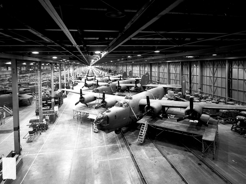 B-24s under construction at Ford Motor's Willow Run plant.