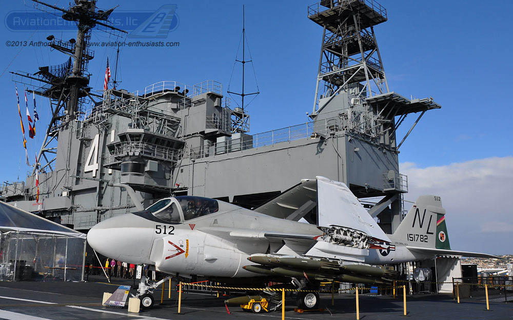 An A-6E Intruder aboard the USS Midway Museum. The Intruder wears the livery of Bengal 512 from VMA(AW)-224 on the left side of the aircraft.