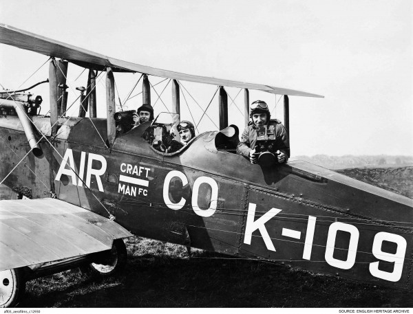 Francis Lewis Wills, Jerry Shaw and Claude Friese-Greene in a DH9B biplane, July 1919. ( © English Heritage. Aerofilms Collection)