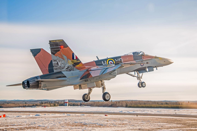 The 2015 CF-18 Hornet Demonstration Aircraft flies over the Saguenay River on April 1st, 2015 near 3 Wing Bagotville, Saguenay, Qué. (Image: Canadian Armed Forces - LS Alex Roy, Atelier d'imagerie Bagotville.)