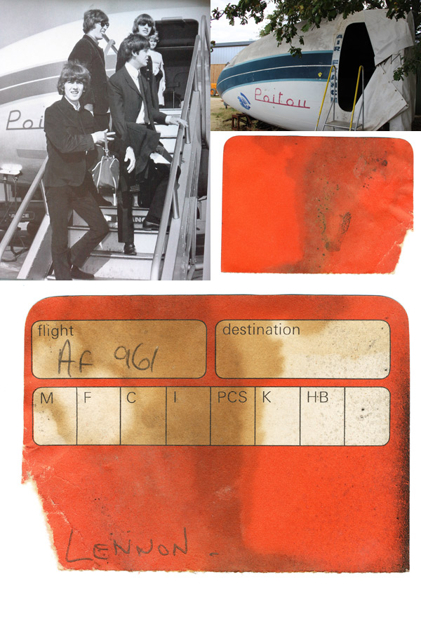 The boarding pass belonging to John Lennon which Nils Andersson found tucked away in the cockpit during restoration. The photo of the Beatles (with kind permission from Air France) shows them boarding 'Poitou' during a journey to France. (photos via Nils Andersson)