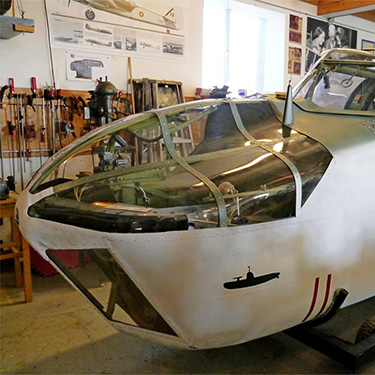 The forward fuselage of the museum's Bristol Bolingbroke under restoration in Coastal Command markings. (photo by Benoit de Mulder)