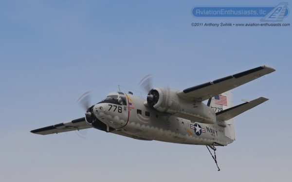 "A photo of Daniel Serrato's C-1 Trader ""Mudflap Girl"" at the 2011 Thunder Over Michigan Air Show."
