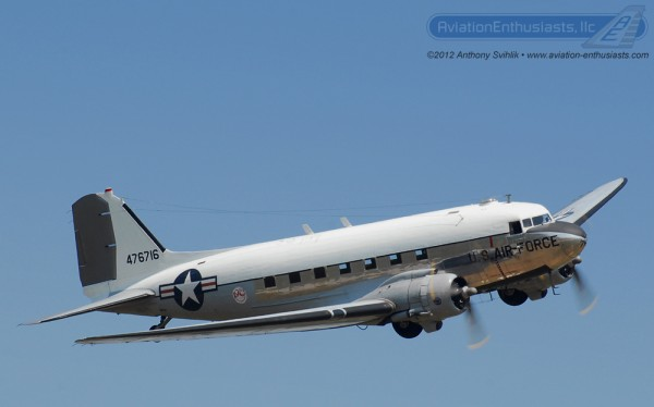 "The Yankee Air Museum's C-47 Skytrain ""Yankee Doodle Dandy"" at the 2012 Gathering of Eagles Air Show."