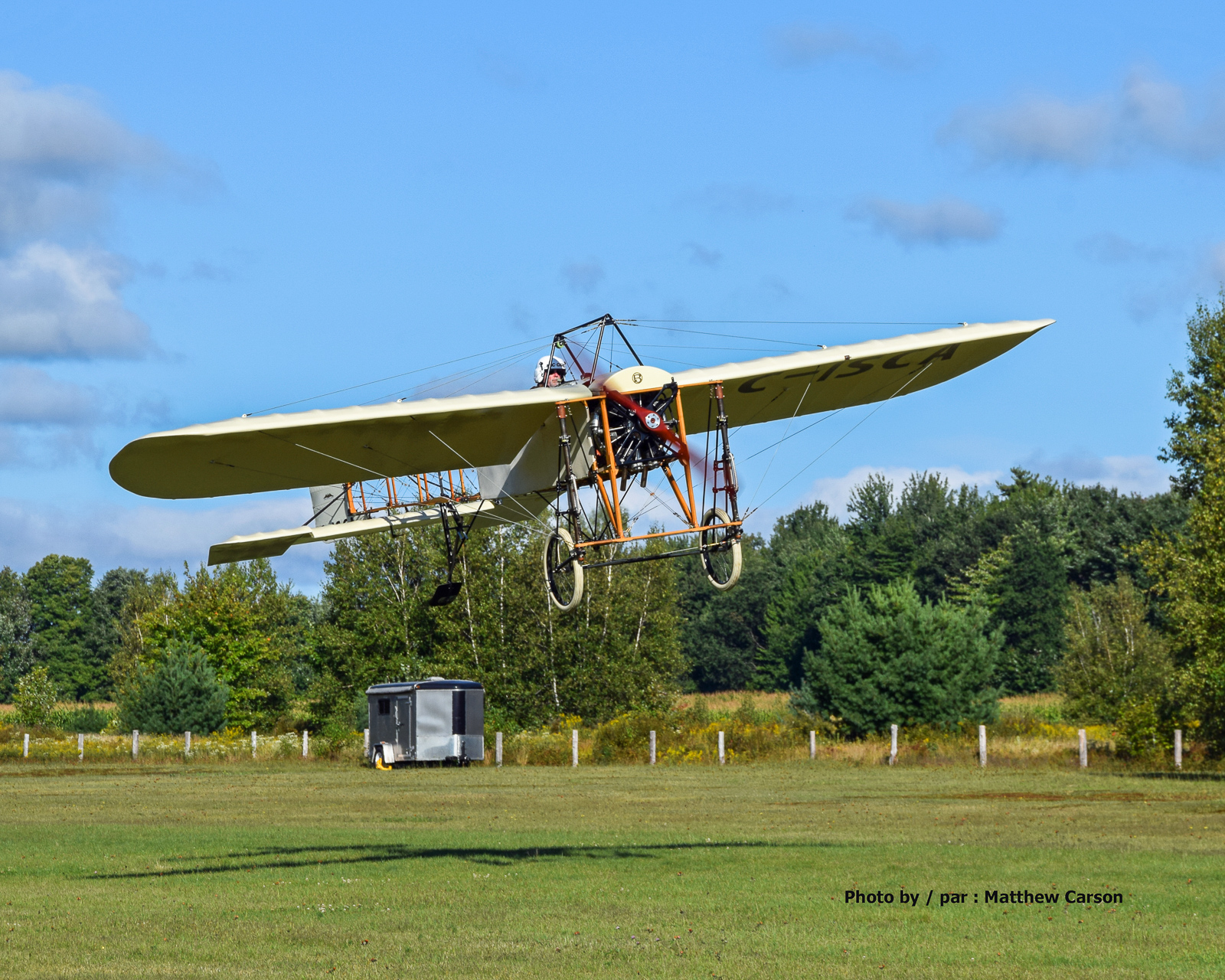 Rob Erdos takes off on the Bleriot's first test flight. (photo by Matt Carson)