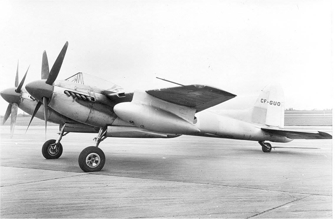 de Havilland Sea Hornet F.20 TT193 while owned by Spartan Air Services circa 1950. The remains of this aircraft will form the basis of an airworthy restoration soon to start at Pioneer Aero in New Zealand. (photo via Richard de Boer)