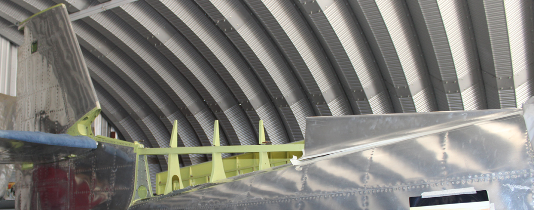 One of the dorsal fins under installation. (photo via Tom Reilly)