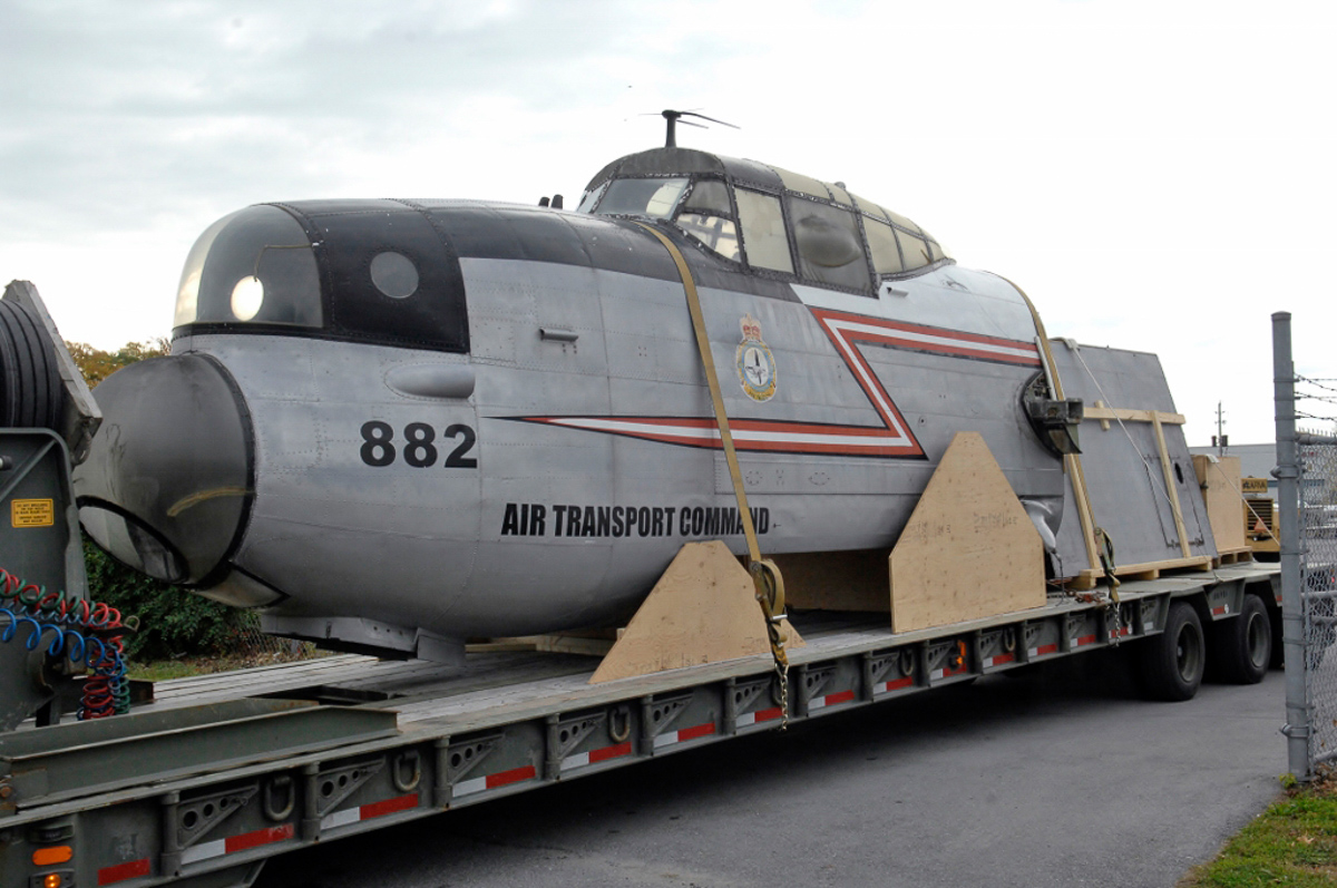 Roadtrip completed! Lancaster KB882's cockpit arrives at the National Air Force Museum of Canada in Trenton, Ontario. (photo by Josh Bambrough, NAFMC via RCAF)
