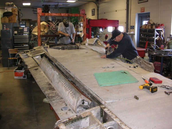 The P-61's right-hand outer wing panel in MAAM's workshop undergoing initial disassembly in November, 2013. (photo via MAAM)