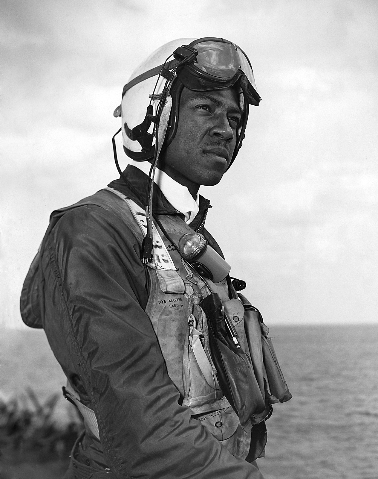 Ensign Jesse Brown board the Leyte during the Korean War. (photo via Bryan Makos)