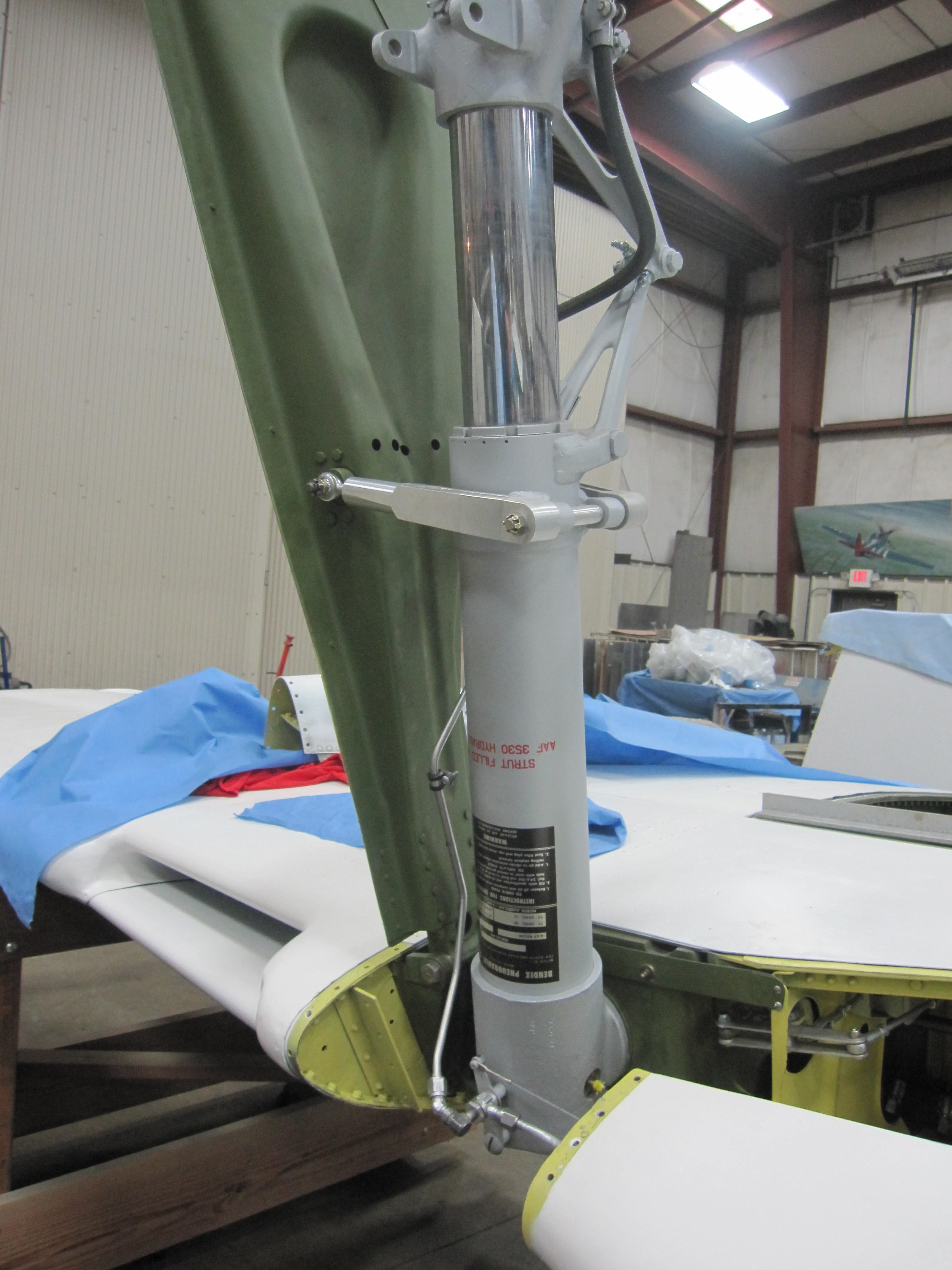 Landing gear brake plumbing installed.