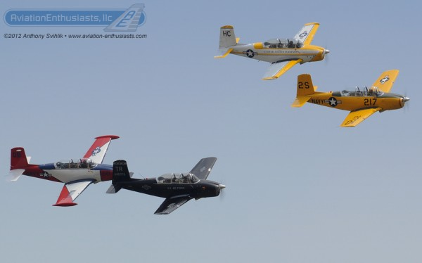 Here is a photo  of a four-ship T-34 element at the 2012 Indianapolis Air Show.