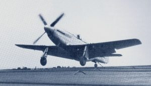 The ETF-51D prototype about to catch the arrester cable upon landing. Elder complained that aircraft attitude upon landing had to be precisely controlled, or the airframe would be damaged. (US Navy).