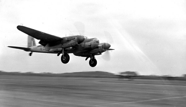 A Mosquito NF.36 with its distinctive radar nose comes in to land. (photo via The People's Mosquito)