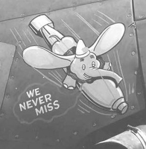 Dumbo, Disney's famed baby elephant, rides a bomb earthward on another of 30 Squadron's Avengers.