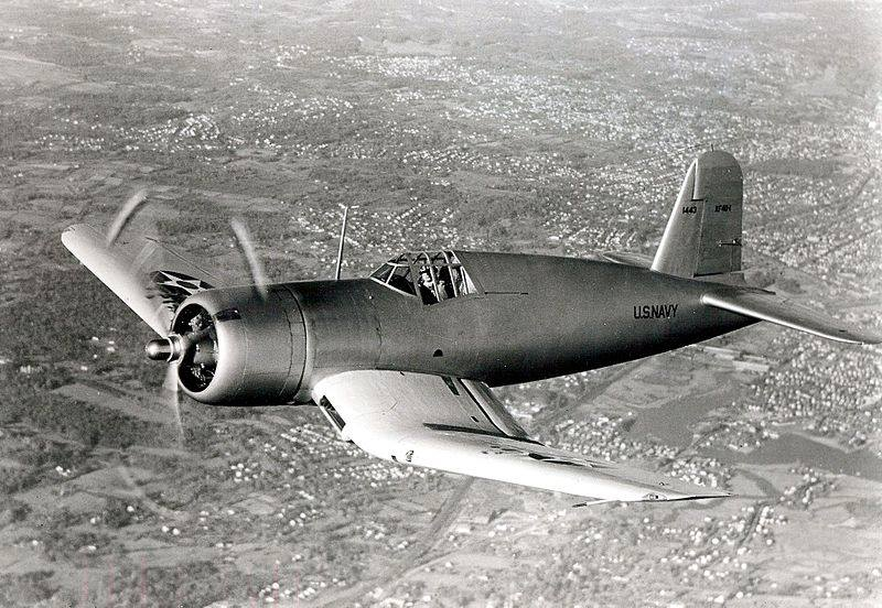 The first prptotype of Vought XF4U-1 Corsair prototype in flight in 1940.