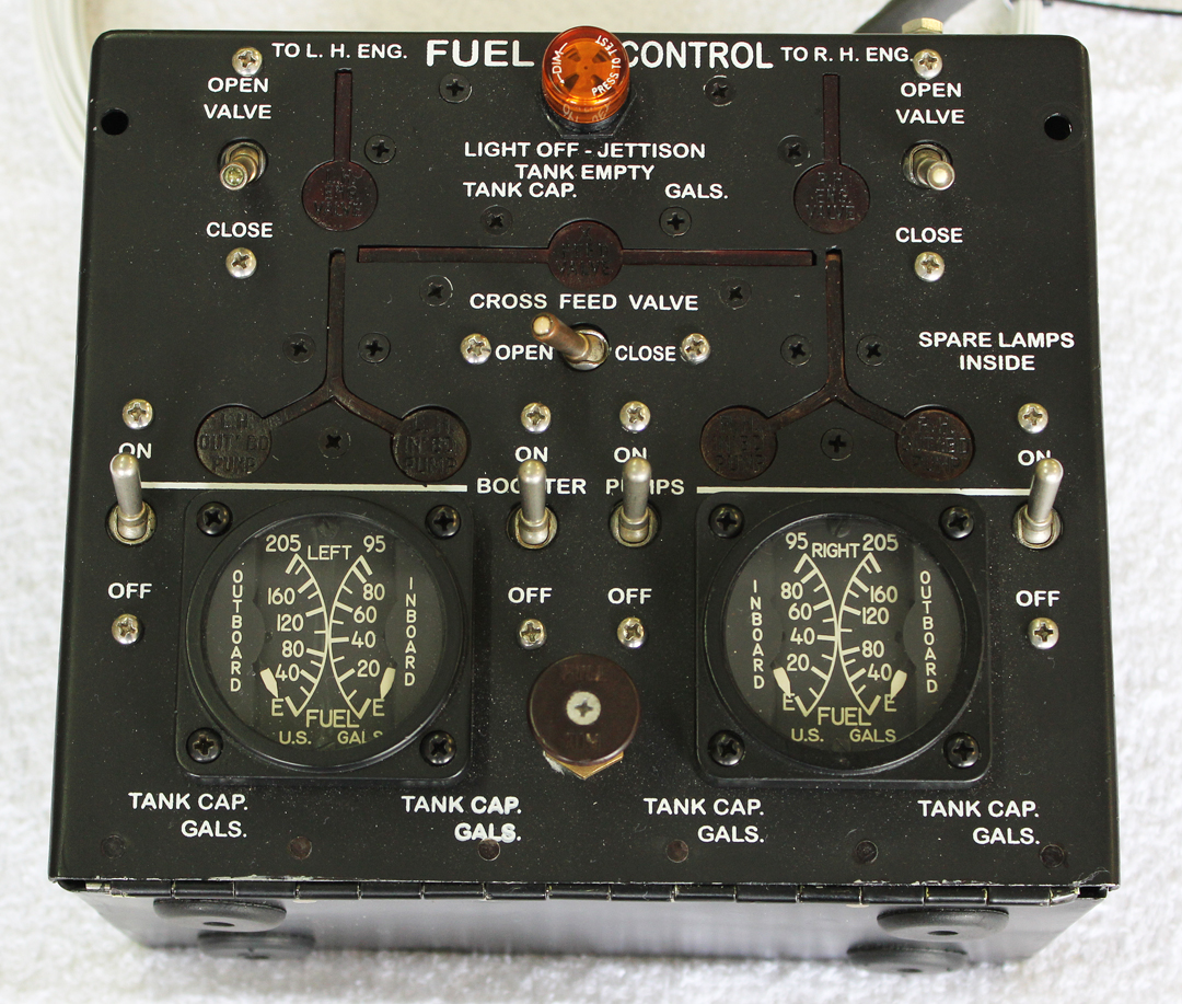 The front face of the fuel control box, showing the two unique fuel gauges. (photo via Tom Reilly)