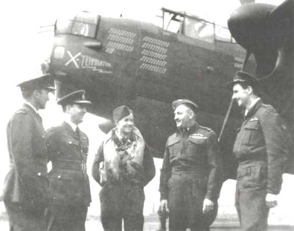 "'X-Terminator just prior to takeoff on her 84th and  final wartime mission. The target was Wangerooge in Holland.  (l-r) G/C J.F. MacDonald (station commander at Middleton St. George),  A/C C.R. Dunlap (commander of 64 Base), F/S Don McTaggart (KB-732's rear gunner),  AVM C.M. ""Black Mike"" McEwan (A.O.C. No. 6 Group), and F/L Barney Wickham (KB-732's pilot). (photo and caption via Bomber Command Museum of Canada)"