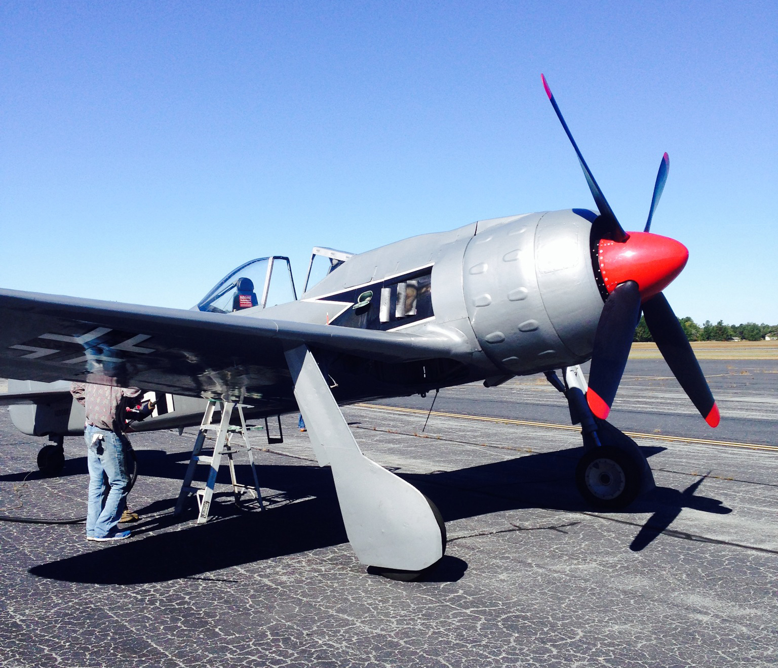 A recent photograph of Jerry Yagen's newly acquired FW-190A-8/N. Note the four-bladed propeller, dome and unusual, dimpled engine cowling. All of these are from a Tu-2 medium bomber. (photo via Mike Spalding)