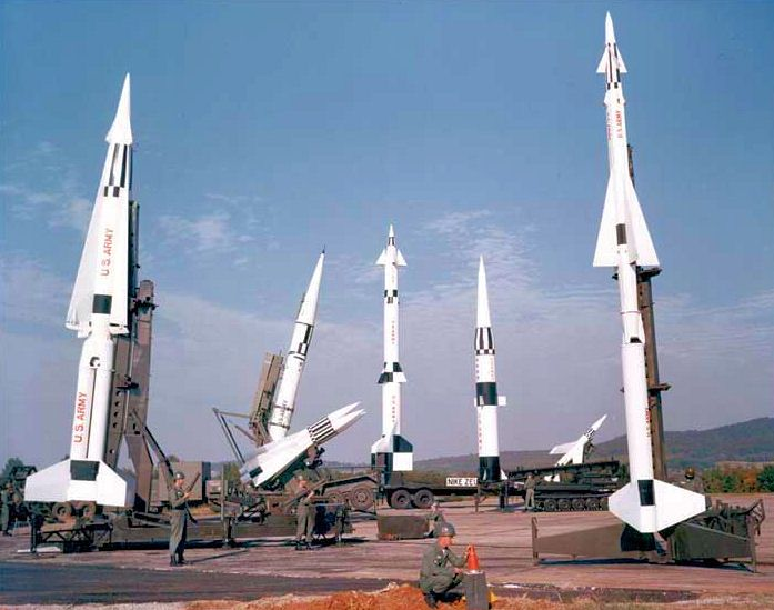 (Image: US Army; Project Nike missiles on display at Redstone Arsenal, Alabama)