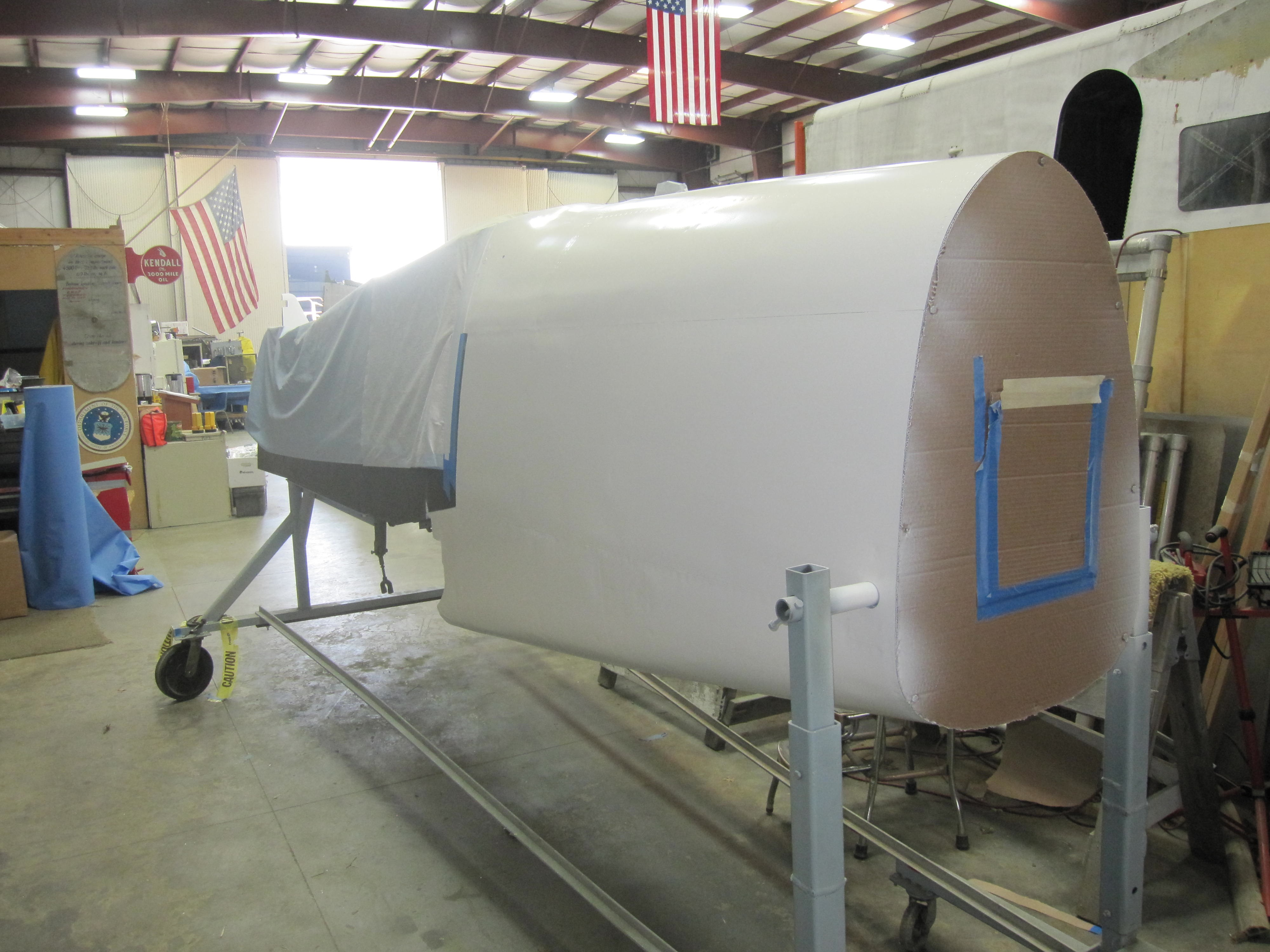 rear section of fuselage primed