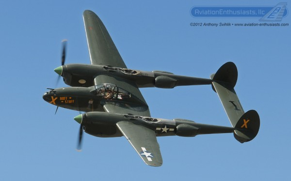 "P-38L Lightning ""Ruff Stuff"" at the 2012 Thunder Over Michigan Air Show."