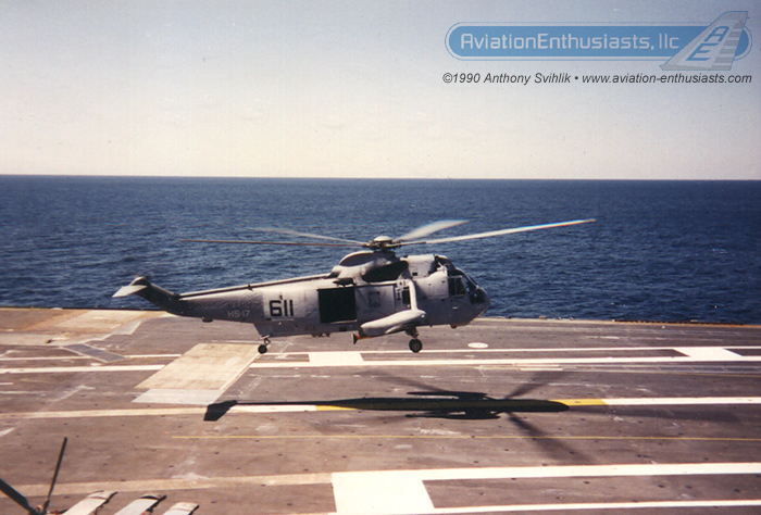 "Here is one of Anthony's photos of Valkyrie 611 from the ""Neptune's Raiders"" of Helicopter Anti-Submarine Squadron 17 (HS-17) aboard the USS Kitty Hawk (CV-63) in 1990."