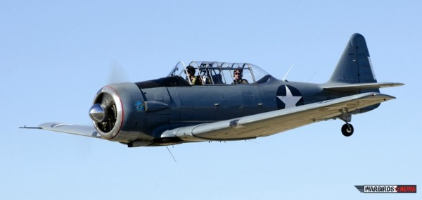 1945 North American SNJ-6 owned by Mark Todd who is both an air show pilot and a pilot for Southwest Airlines.