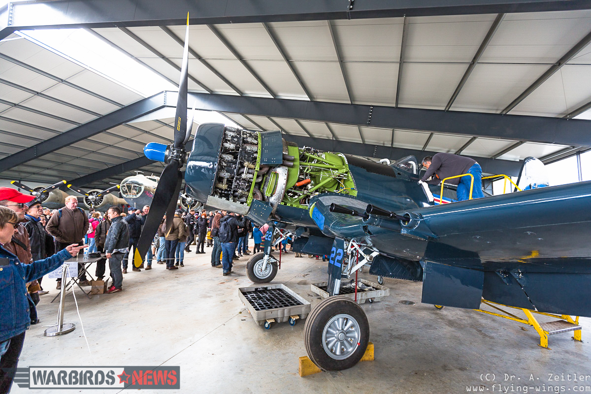 The F4U-5NL Corsair is nearing the end of its restoration at La Ferté-Alais. (photo by Andreas Zeitler)