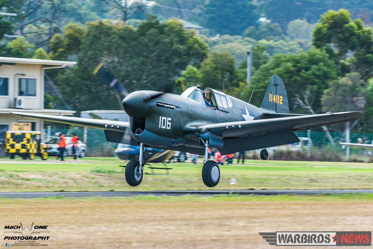 Guy Bourke brings Judy Pay's rare Merlin-engined P-40F Warhawk back to earth after the Balbo. Only two examples of the P-40F are currently airworthy worldwide. (photo by Matt Savage)