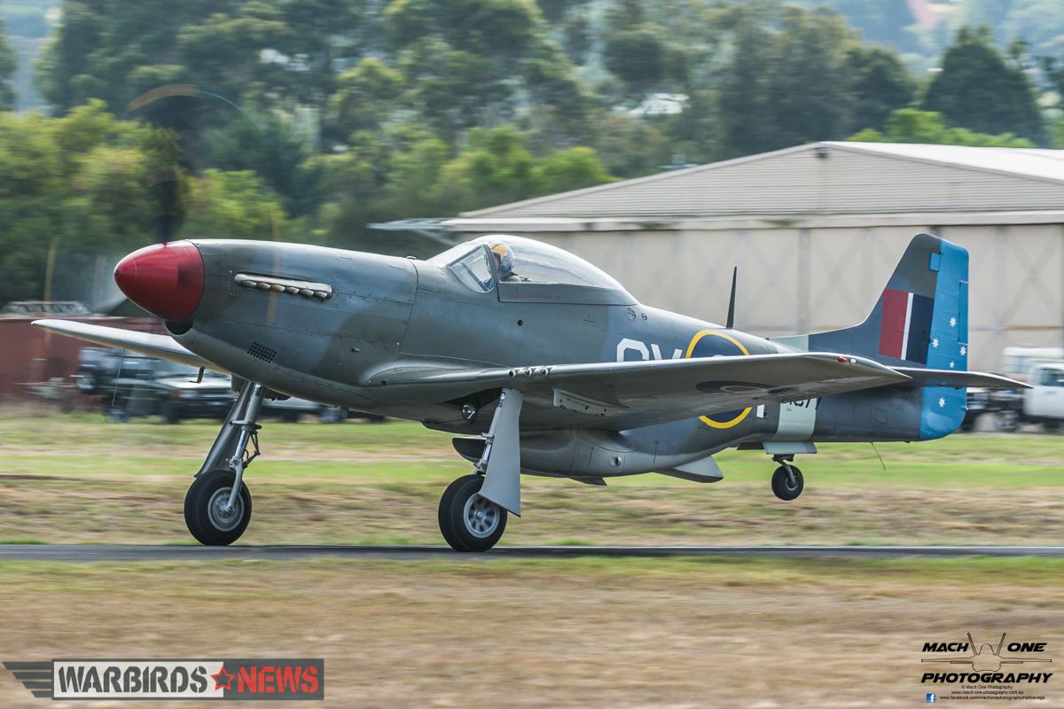 Judy Pay's Commonwealth CA-18 Mustang departing for the Balbo. (photo by Matt Savage)