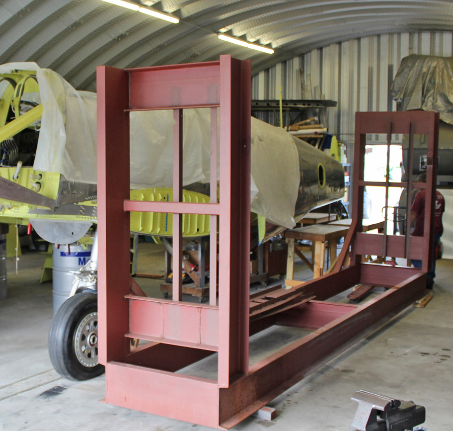 The outer wing panel jig back inside the hangar again to allow final washout checks. (photo via Tom Reilly)