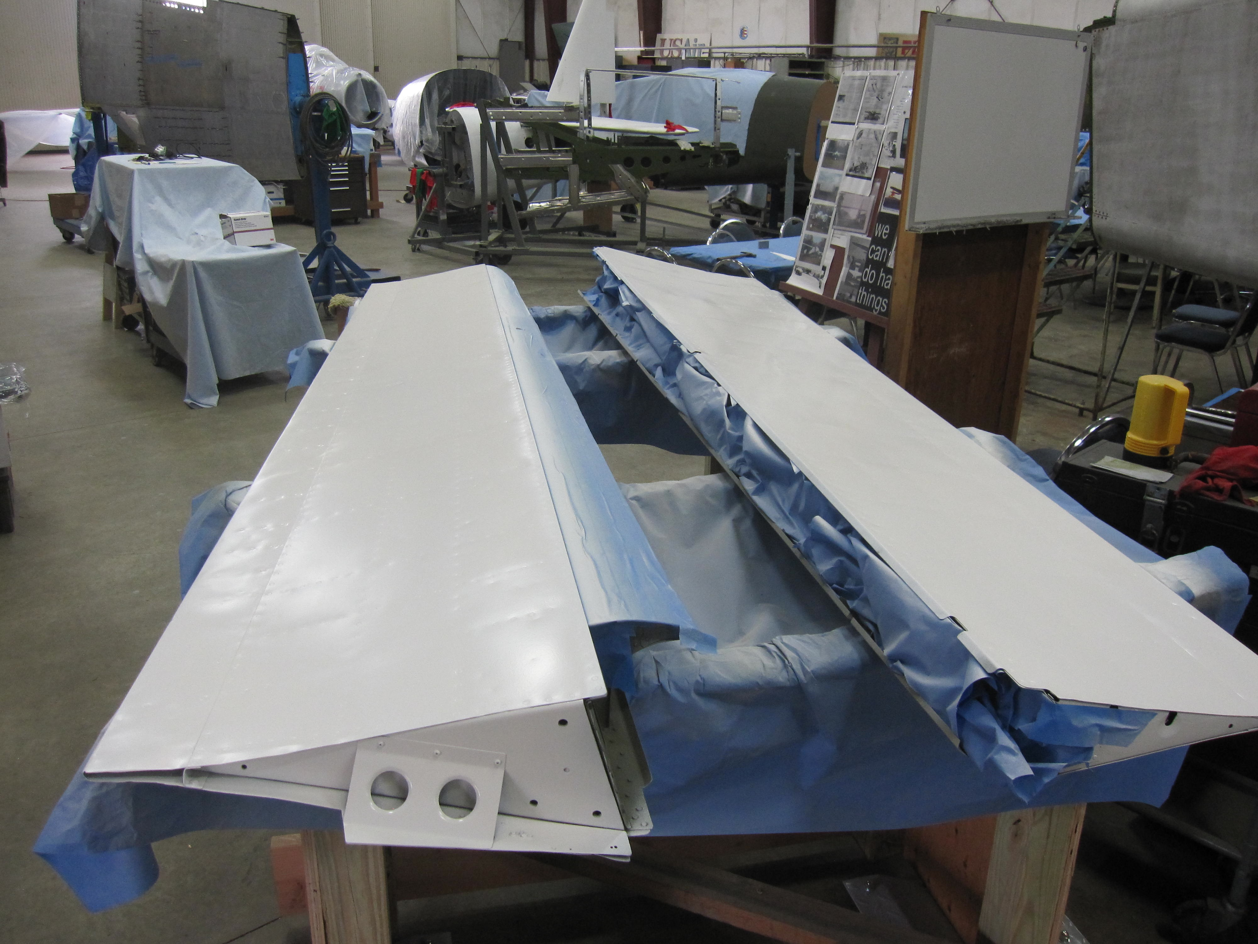 wing flaps upper surfaces primed