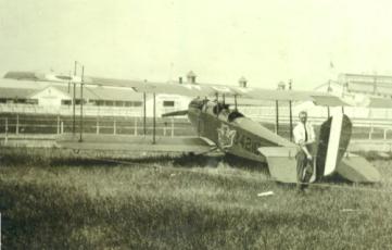 Wop May with a Standard J-1. (photo via Warbird Radio)