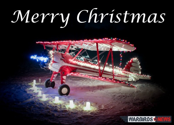 The Christmas Stearman, courtesy of Tom Pawlesh.